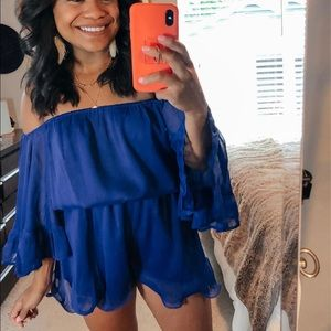 Blue Off the Shoulder Ruffle Romper